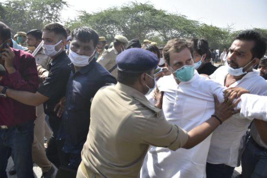 राहुल गांधी-प्रियंका गांधी के हाथरस जाने के दौरान यमुना एक्सप्रेस वे की वे तसवीरें देखें जिस पर बहस हो रही है